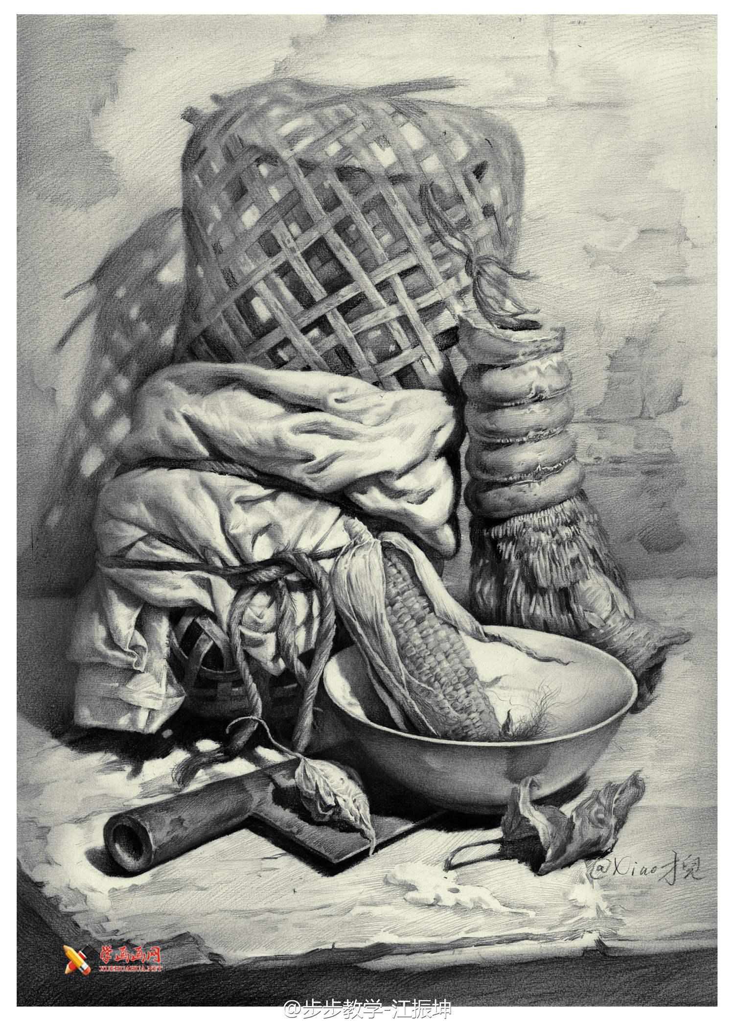 美术考级_优秀静物素描画欣赏【高清素描图片】-露西学画画