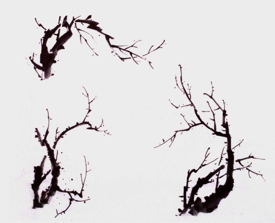 国画学习_国画树枝的画法步骤-露西学画画