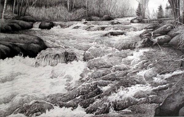 超写实钢笔画教程:湍急溪流的刻画