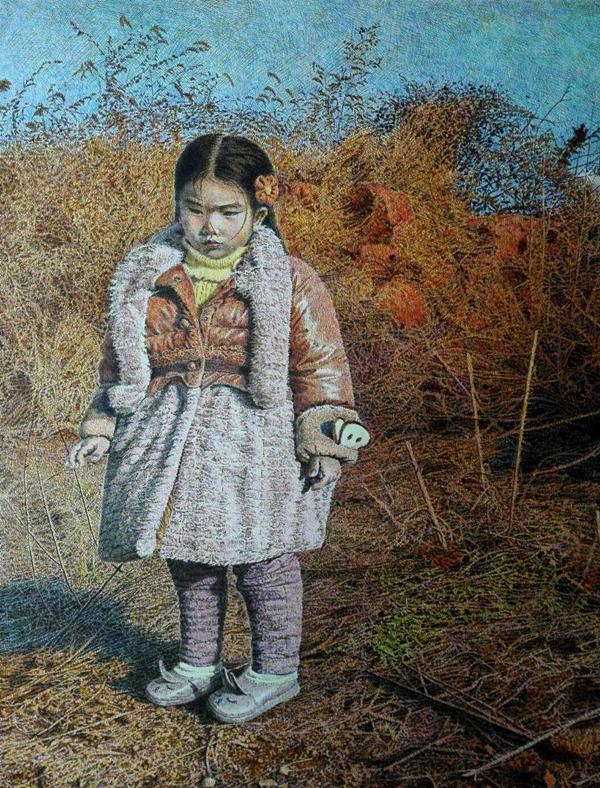 彩色钢笔画作品《小小的田野》赏析