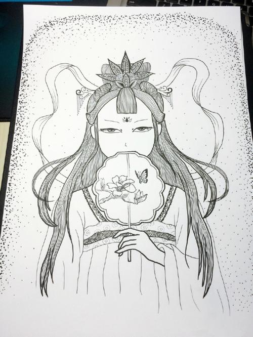 古风手绘美人插画步骤图