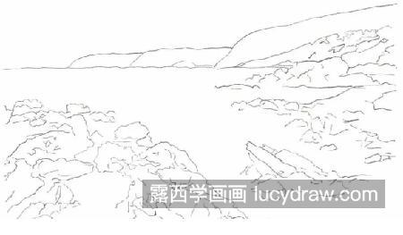 一些铅笔风景素描画_大海和礁石怎么画?风景彩铅步骤有几步?-露西学画画