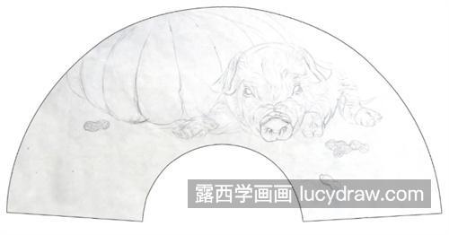 扇面小猪怎么画