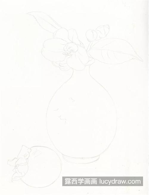 山茶柿子怎么画