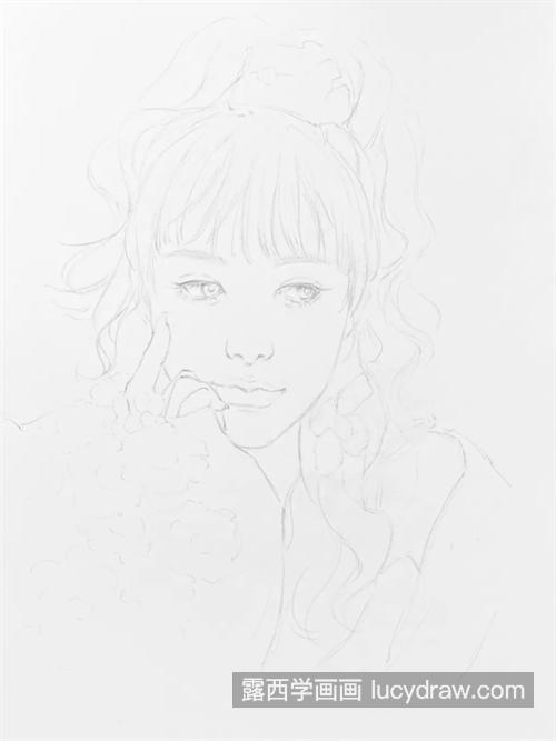 甜美少女怎么画
